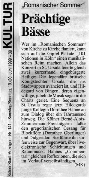 20. Juni 1999 Kölner Stadtanzeiger