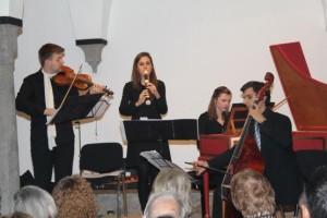 """Das ausgezeichnete Ensemble """"Fontana di Musica"""": Christian Handschke, Elisabeth Wirth, Elina Albach und Christoph Urbanetz. Foto: Schuette"""